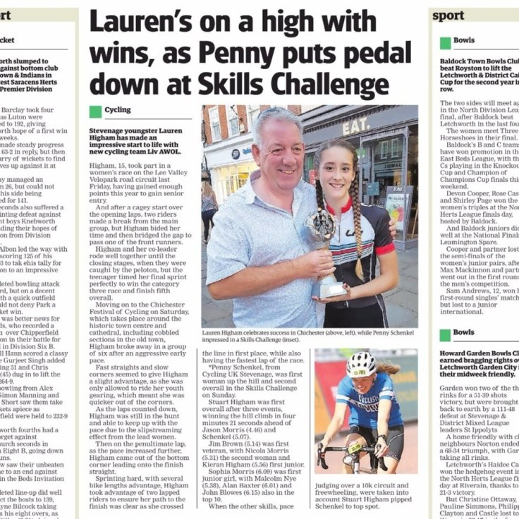 Chichester Crit 2017 - Lauren in the papers (courtesy: The Comet)