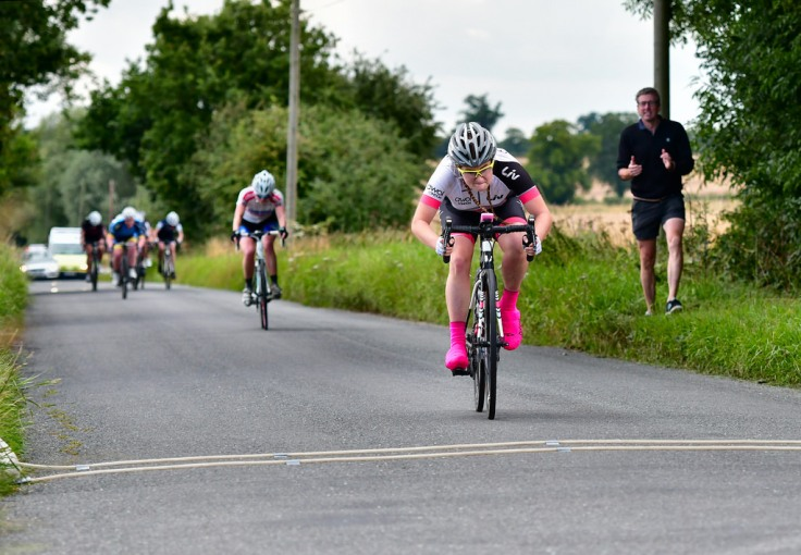 Connie Hayes taking 3rd at Diss CC Summer Road Race (photo: John Orbea)