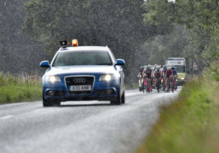 Rain falls on peleton at Diss CC Summer Road Race (photo: John Orbea)