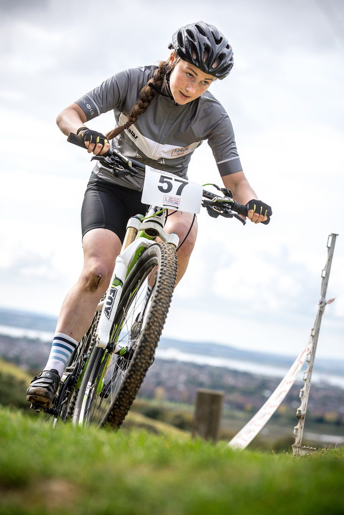 Emily Bridson - MTB riding for South region 2017 (photo: Huw Williams)