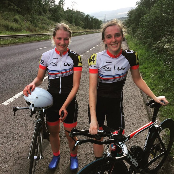 Hannah Bayes and Savannah Hewson at National 25 mile TT (photo: Tom Hewson)