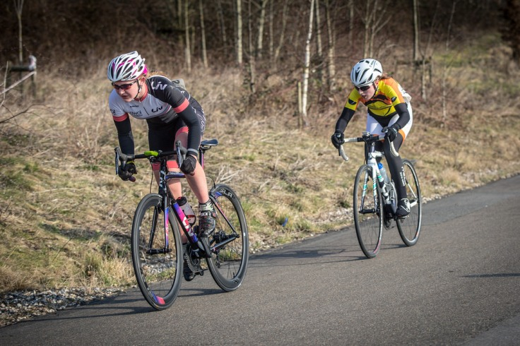 Charlotte McGreevy leading sprint to finish up Hoggenburg (photo: Huw Williams)