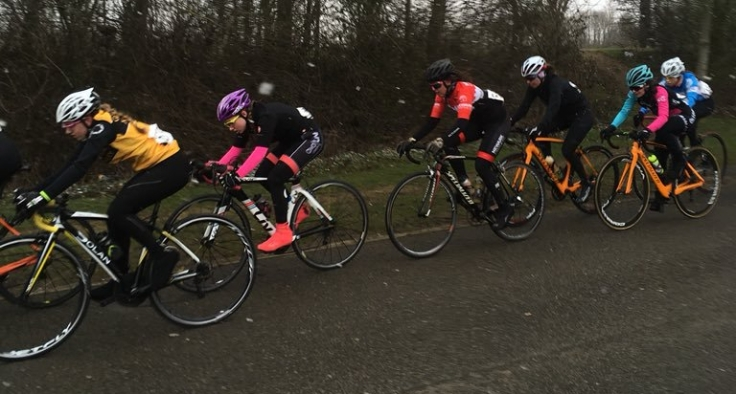 Connie Hayes in sleet, racing at Milton Keynes