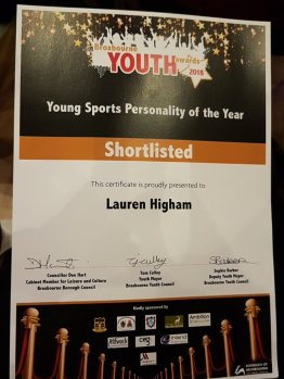 Lauren Higham shortlisted for Broxbourne Youth Sports Personality