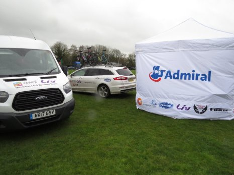 Team vehicles and gazebo