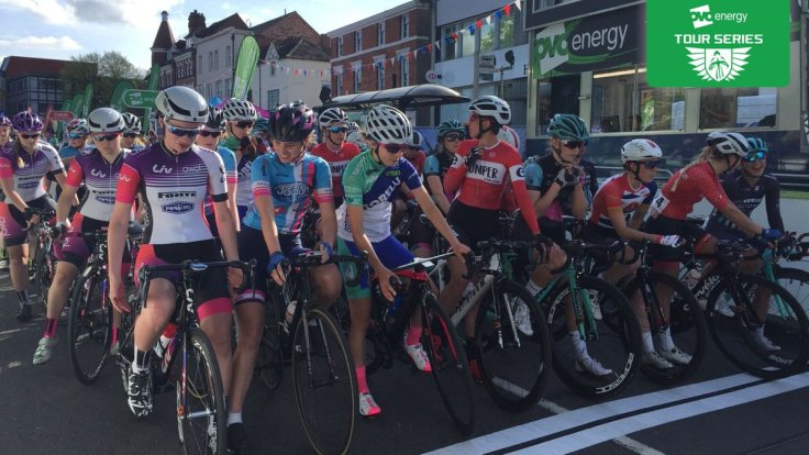 All lined up for start - OVO Energy Tour Series 2018 Redditch (photo: Tour Series)