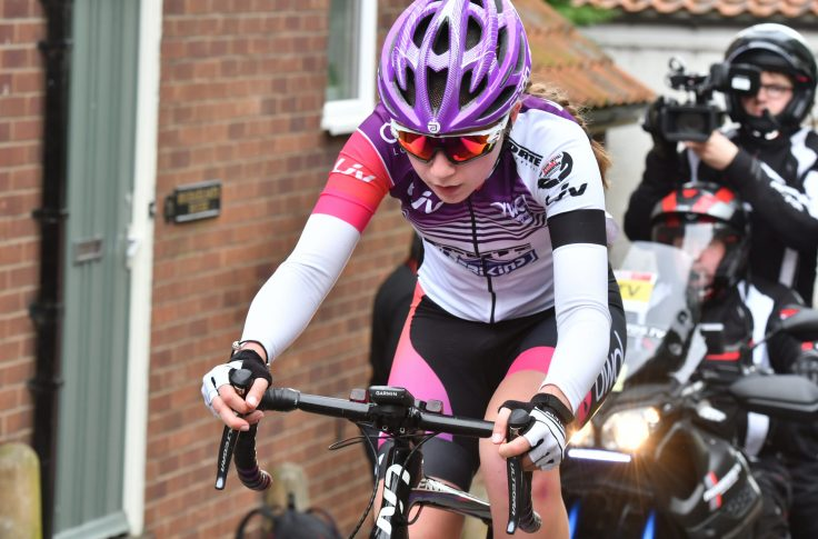 Hannah Graveney being stalked up the hill - Lincoln GP 2018 (photo: John Orbea)