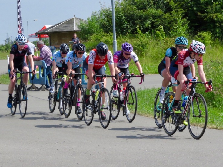 Lead group - Cyclopark Women's Grand Prix 2018 (photo: Phil Moir)