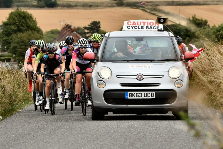 Clover Murray at front in neutral zone - Rapha CC Road Race 2018 (photo - John Orbea)