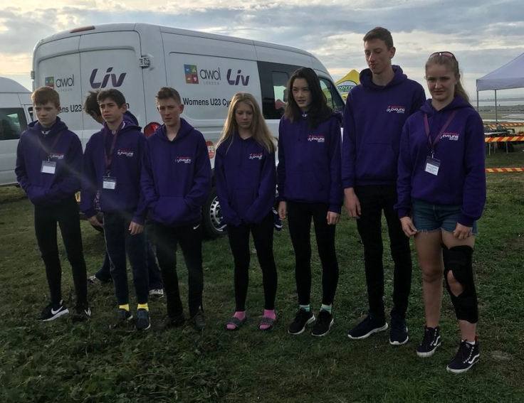 Charlotte McGreevy (injured right) South-Eastern MTB Team with Liv AWOL van in support