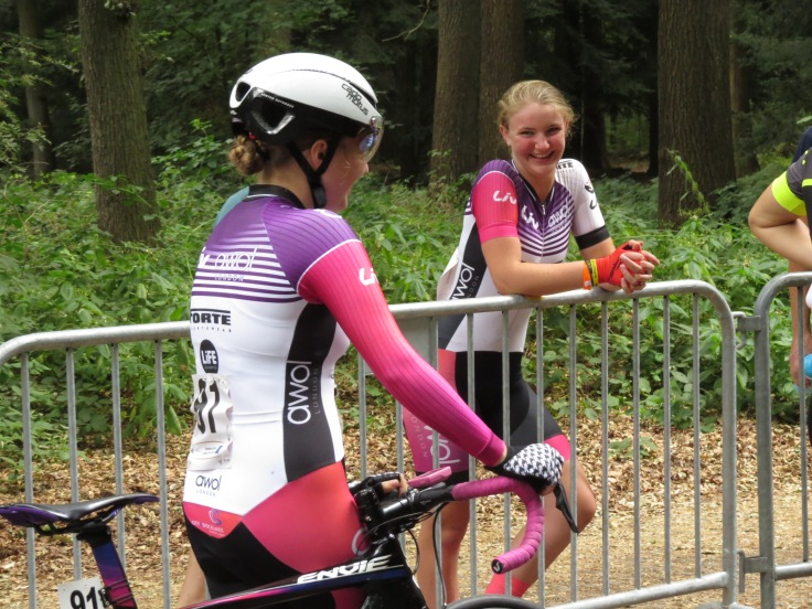 Connie Hayes and Charlotte McGreevy share a joke before prologue (photo - Phil Moir)