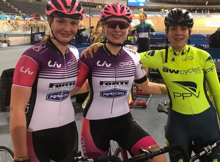 Charlotte McGreevy and Eva Callinan with friend Abigail Old at London Youth Track League