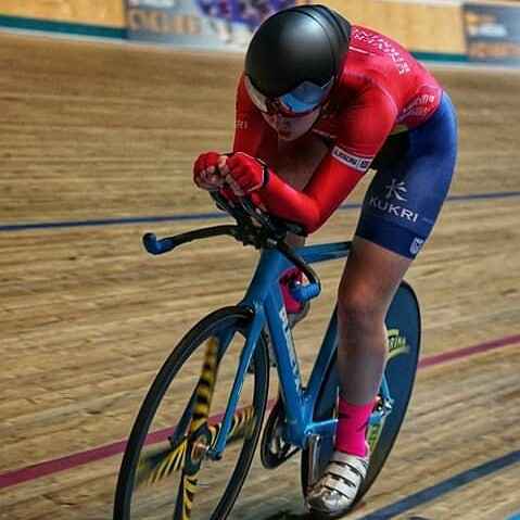 Louise Scupham track training at Derby Arena (photo © Simon Reavil)