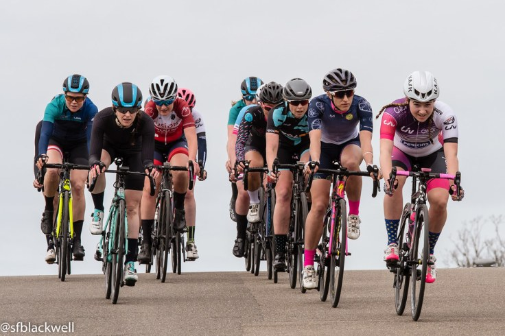 Connie Hayes on front at LDN Rapha Crit Series (photo © Simon Blackwell)